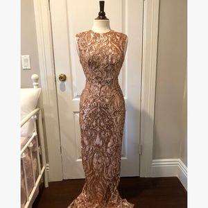 bebe Sequined, Blush, Open Back, Floor Length Gown